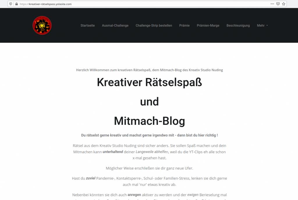 Screenshot Kreativer Mitmach & Rätselblog