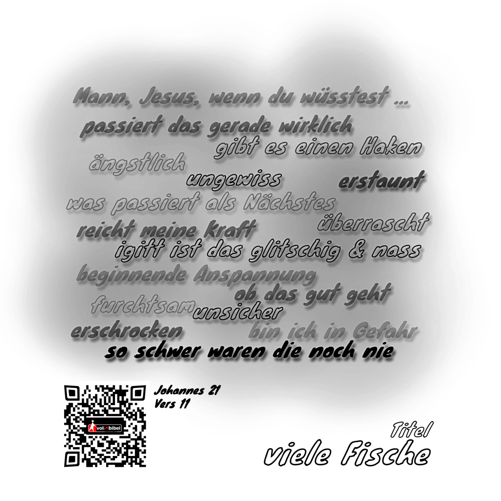 Mit Krita fertig erstellte linke Seite zum Kreativbuch Cartoons zum Vertiefen [ Cartoon Nr 1 ] - Wortwolke & QR-Code