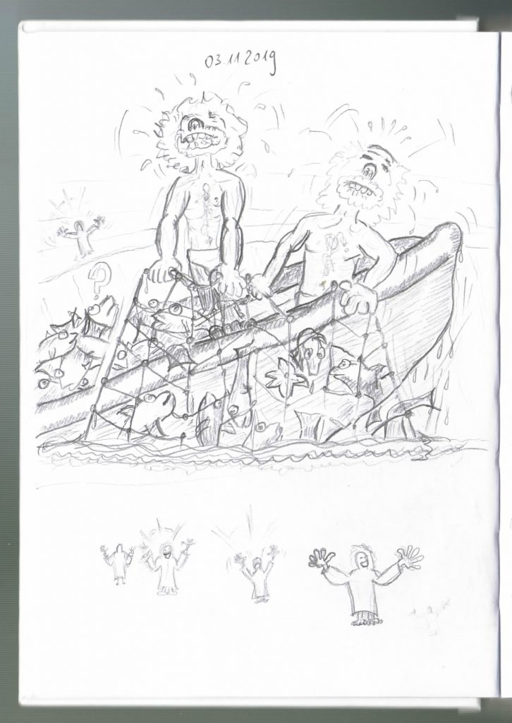 Original Skizze aus Petrus trifft Jesus, dem Kreativbuch Cartoons zum Vertiefen von Jochen Nuding