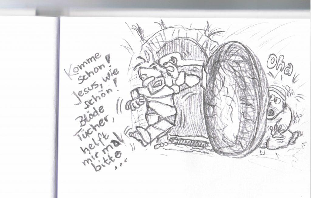 Seite 18 Original Scan Jochen Nuding für das Lazarus und seine Schwestern Comic-Strip Heft noch ohne himmlische Pointe!