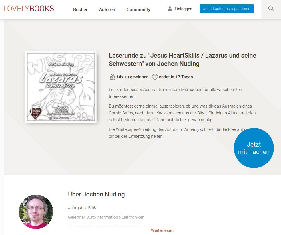 Lese-Ausmal-Runde auf Lovelybooks zum Lazarus und seine Schwestern [ Bibel ] Ausmal-Comic-Strip