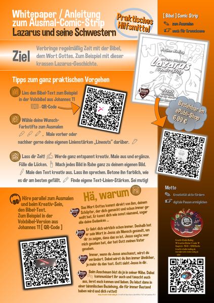 Whitepaper Anleitung zur Konzept-Idee hinter dem Ausmal-Comic-Strip Lazarus und seine Schwestern
